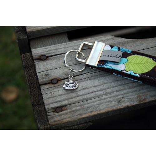 "Schlüsselband ""Geblümt mit Frosch"" - Unikat"