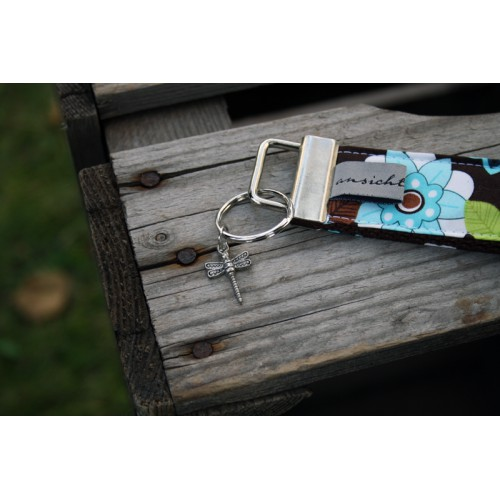 "Schlüsselband ""Geblümt mit Libelle"" - Unikat"