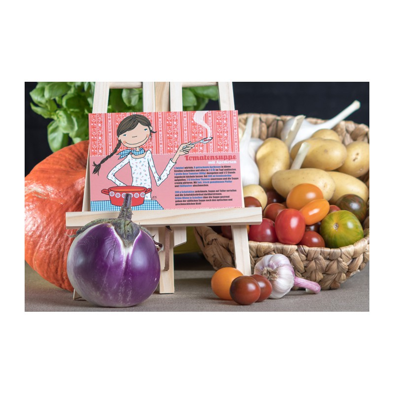 "Rezeptpostkarte ""Tomatensuppe mit Aprikosen"""