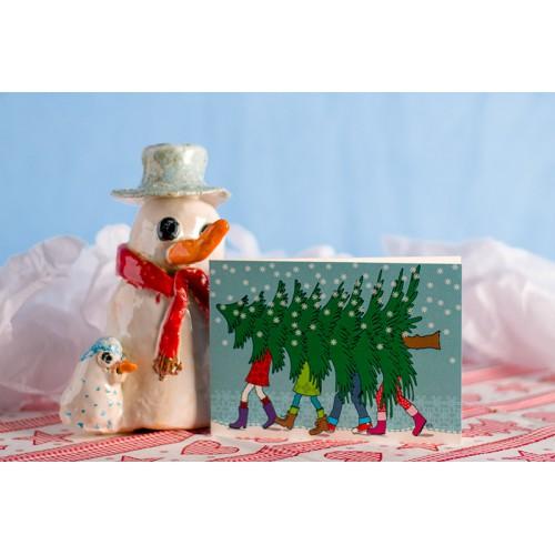 """Klappkarte """"Weihnachtsbaum"""" Querformat"""