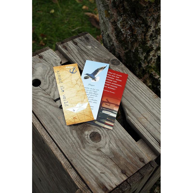 3er-Set Lesezeichen - Fliegen, Anfang, Travel